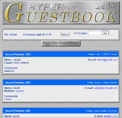 HyperBook Guestbook 1.30 Ücretsiz Ziyaretçi Defteri Scripti İndir