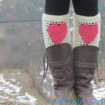 Cute heart boot cuffs