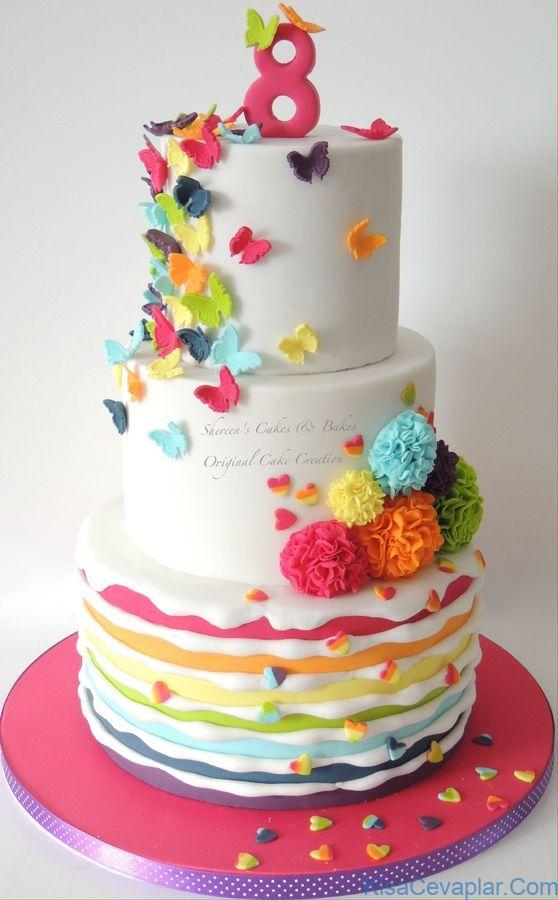 Such pretty colors and changes in texture in this butterfly spring cake